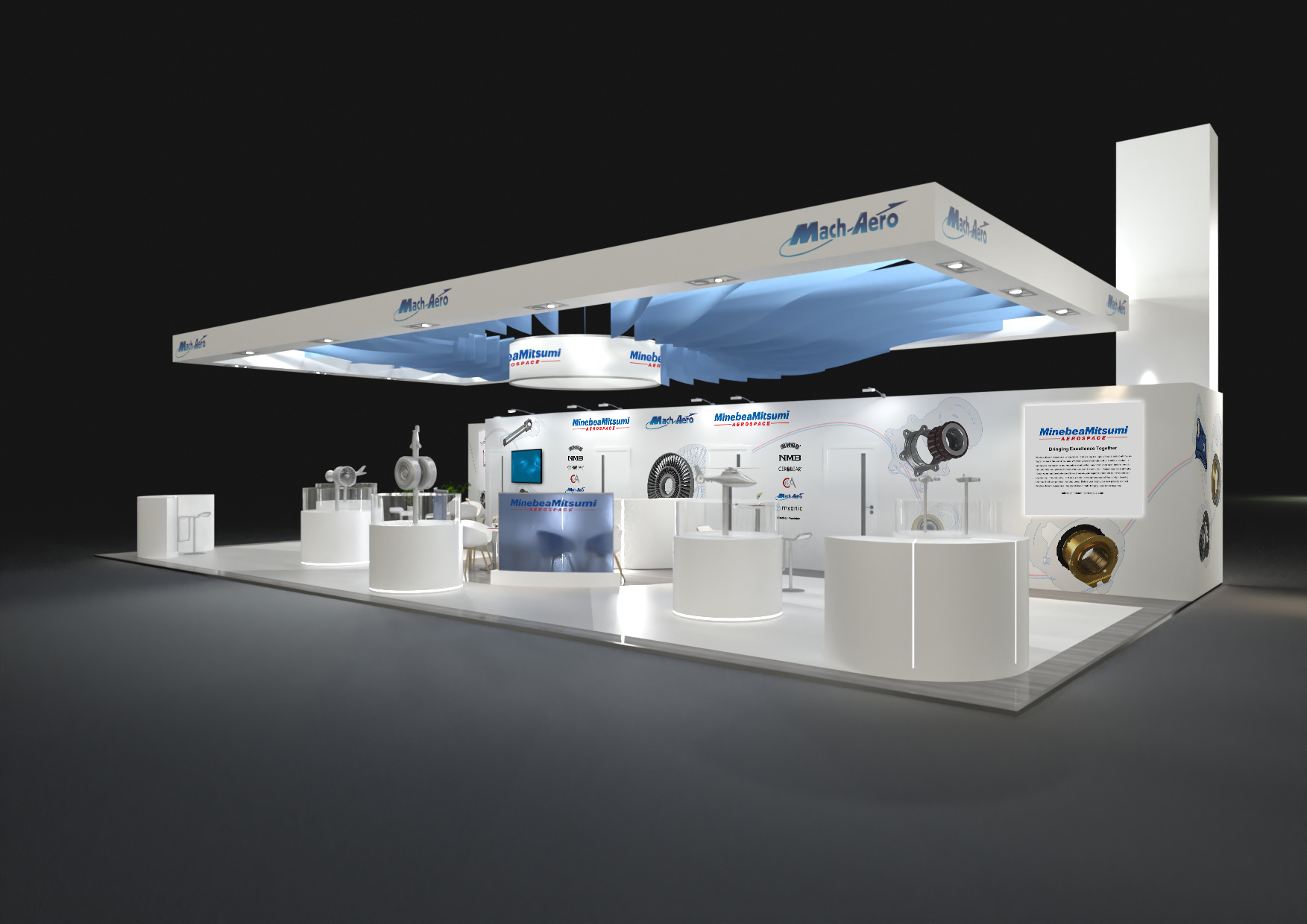 MinebeaMitsumi Aerospace Tradeshow Booth for Paris Air Show