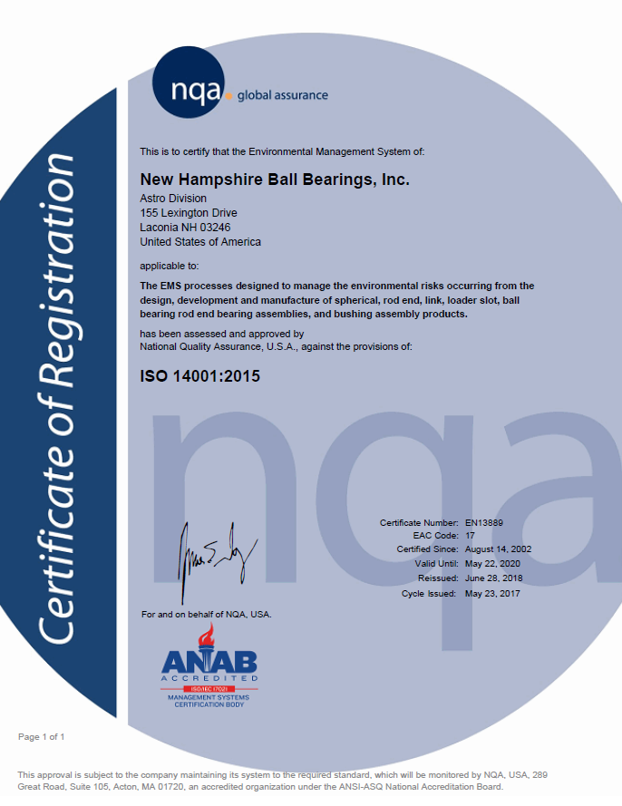 NHBB Astro Division ISO 14001 Certificate
