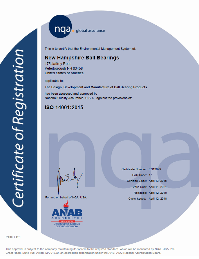 NHBB HiTech Division ISO 14001 Certificate