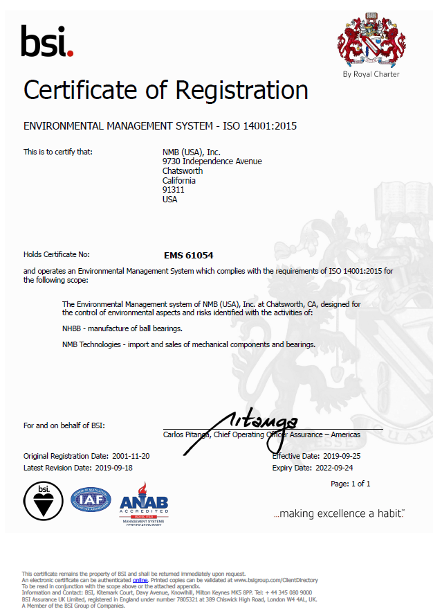 NHBB Precision Division ISO 14001 Certificate
