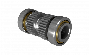 Duplex roller bearing/gear assembly